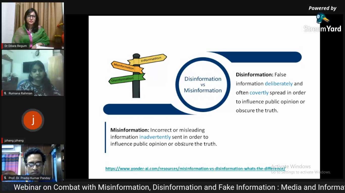 Webinar on Combat with Misinformation, Disinformat